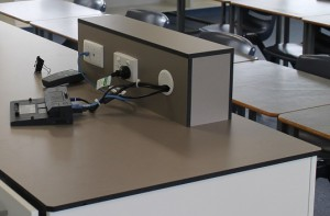 School Laboratory Benchtop Compact Laminate Power-box in use